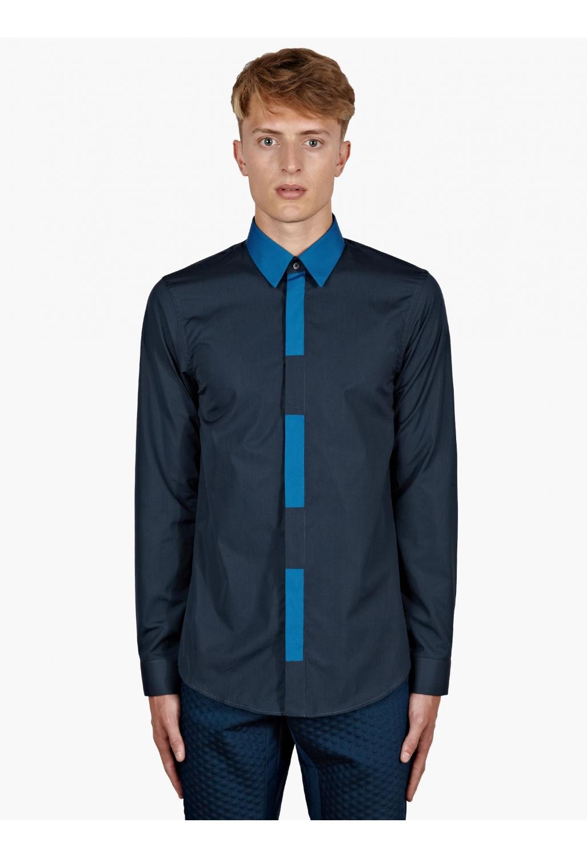 Jil sander men 39 s navy colour block placket shirt in blue for Jil sander mens shirt