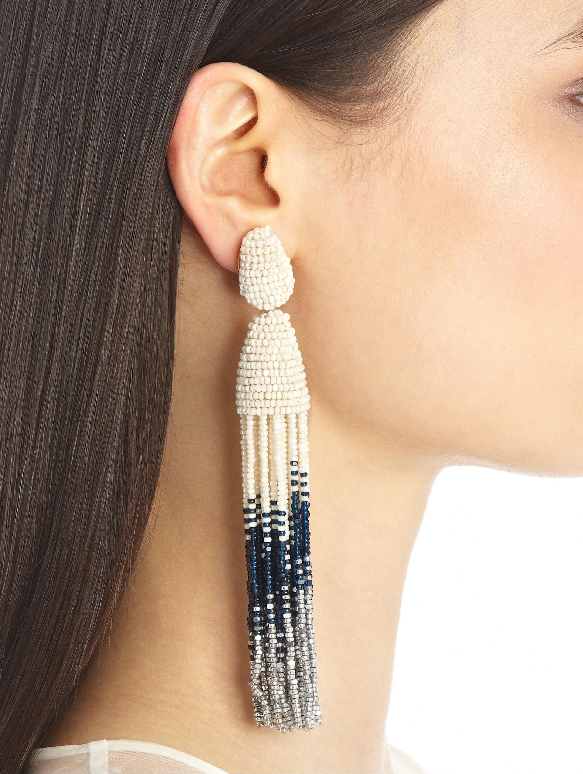 Oscar De La Renta Ombre Tassel Earrings In Metallic Lyst