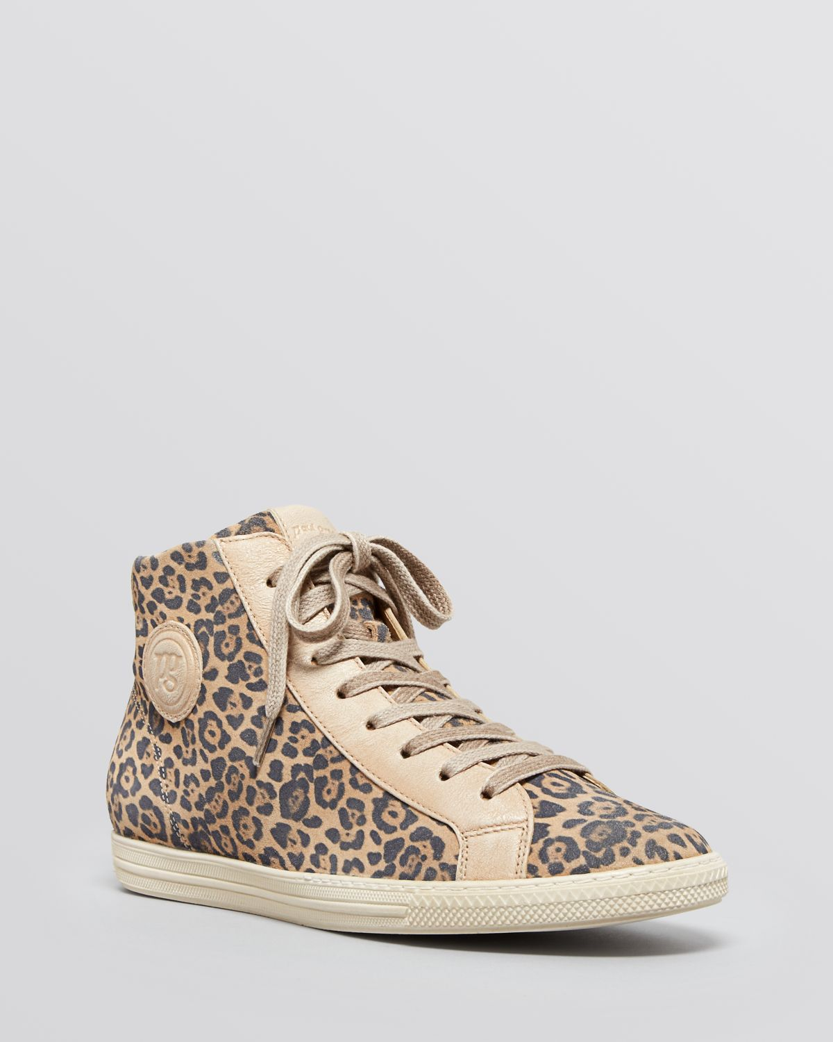 paul green lace up high top sneakers venus leopard print in gray leopard lyst. Black Bedroom Furniture Sets. Home Design Ideas