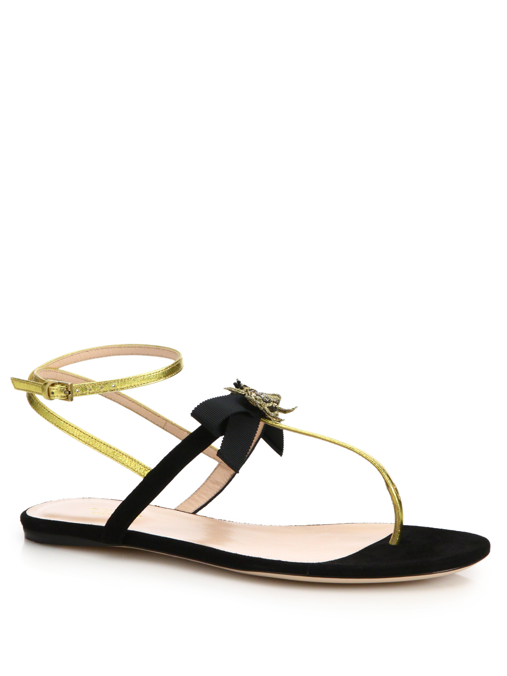 a4acfbfb295 Lyst - Gucci Moody Suede and Leather Sandals in Black