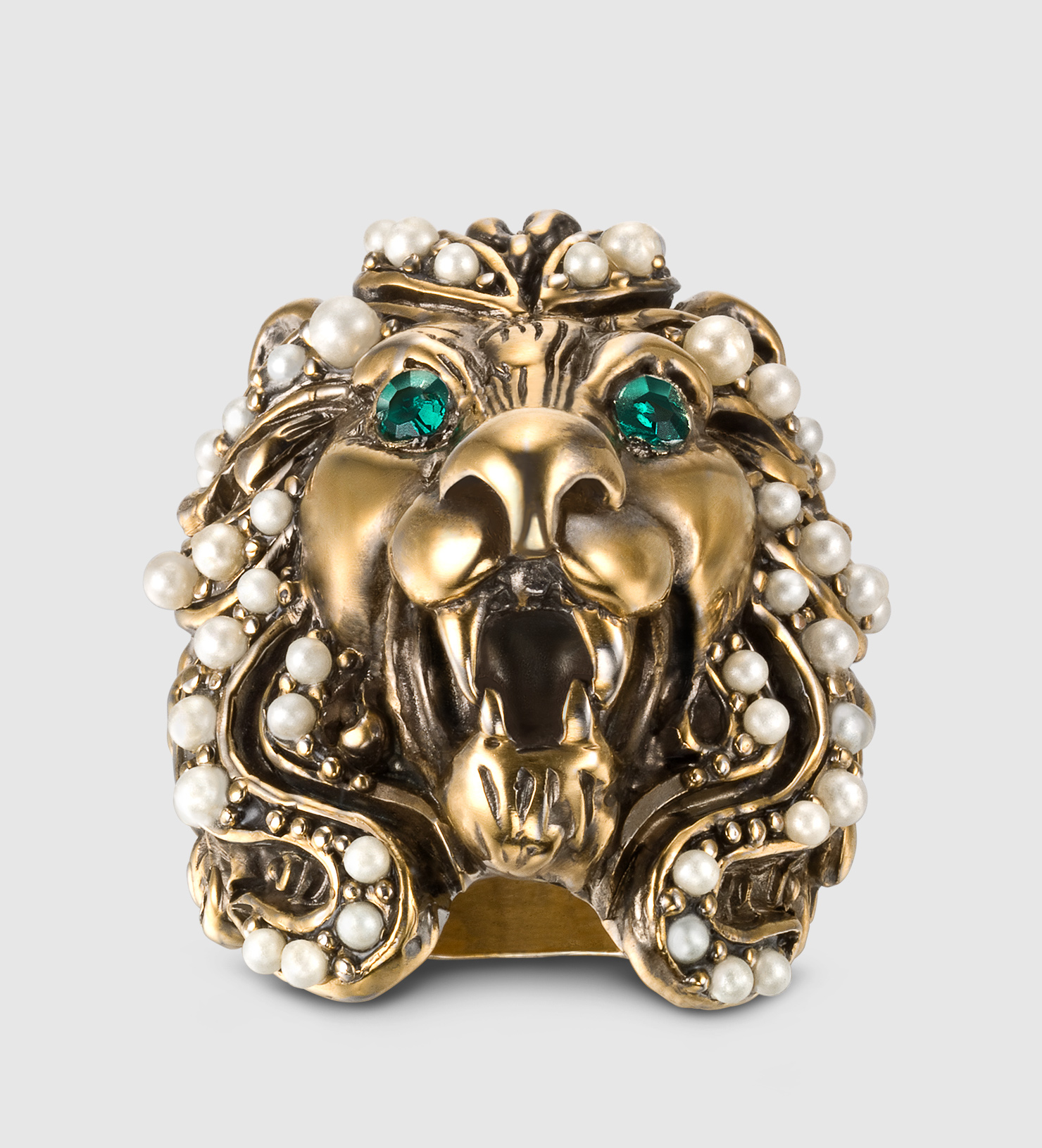 2dad1aea0 Gucci Lion Head Ring With Crystals in Metallic - Lyst