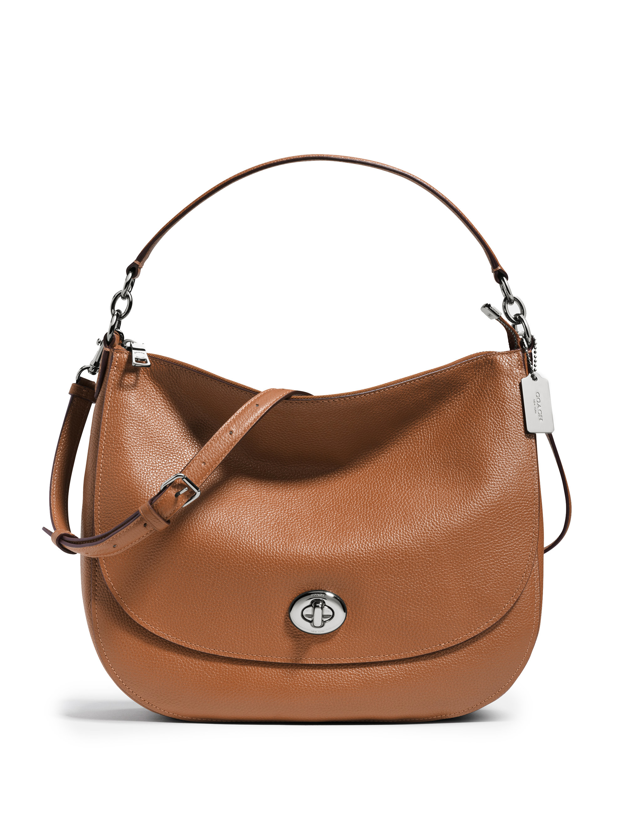 Coach Pebbled Leather Turnlock Hobo Bag in Brown | Lyst