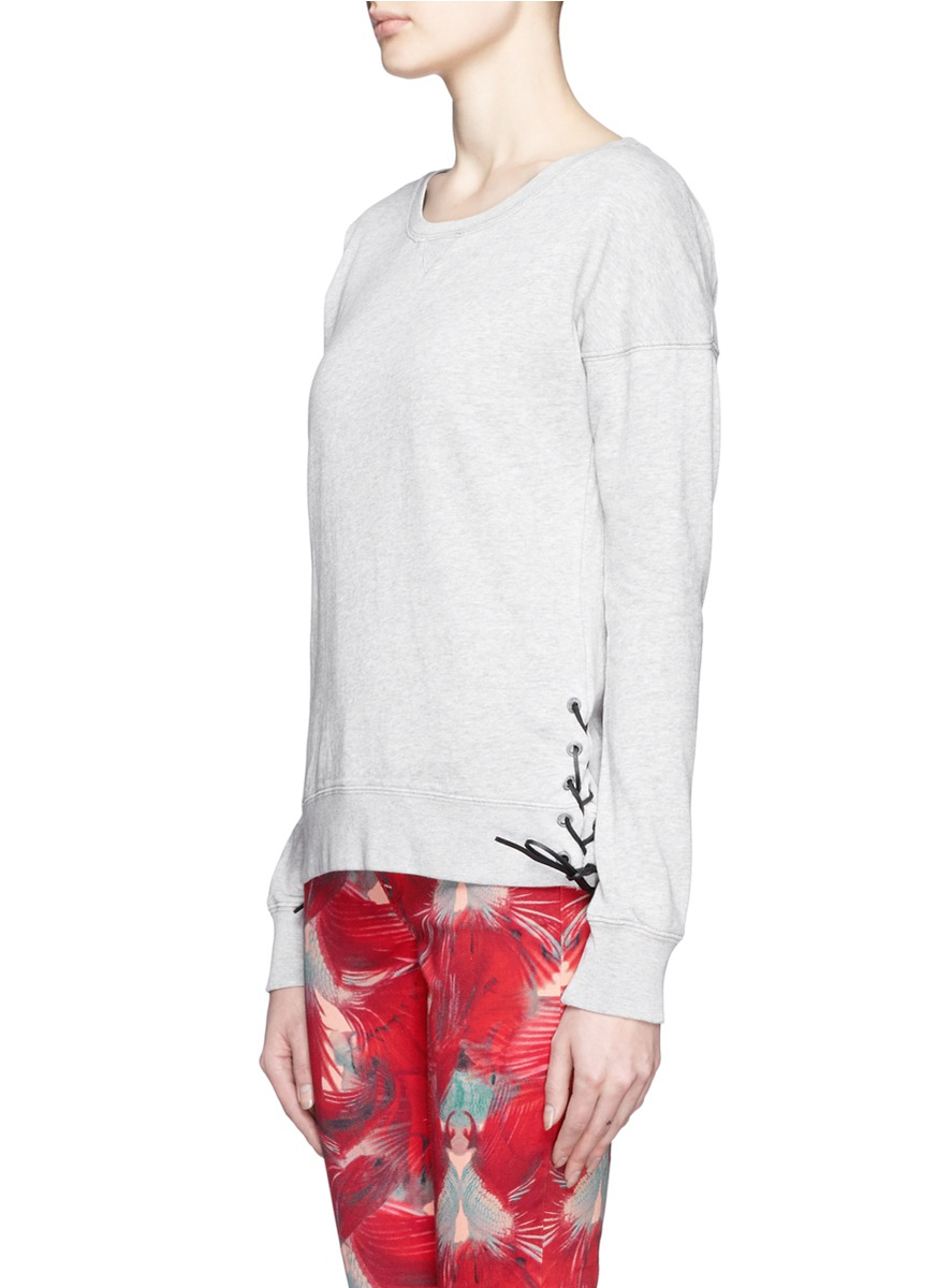 Lyst maison scotch laceup cotton sweatshirt in gray for About maison scotch