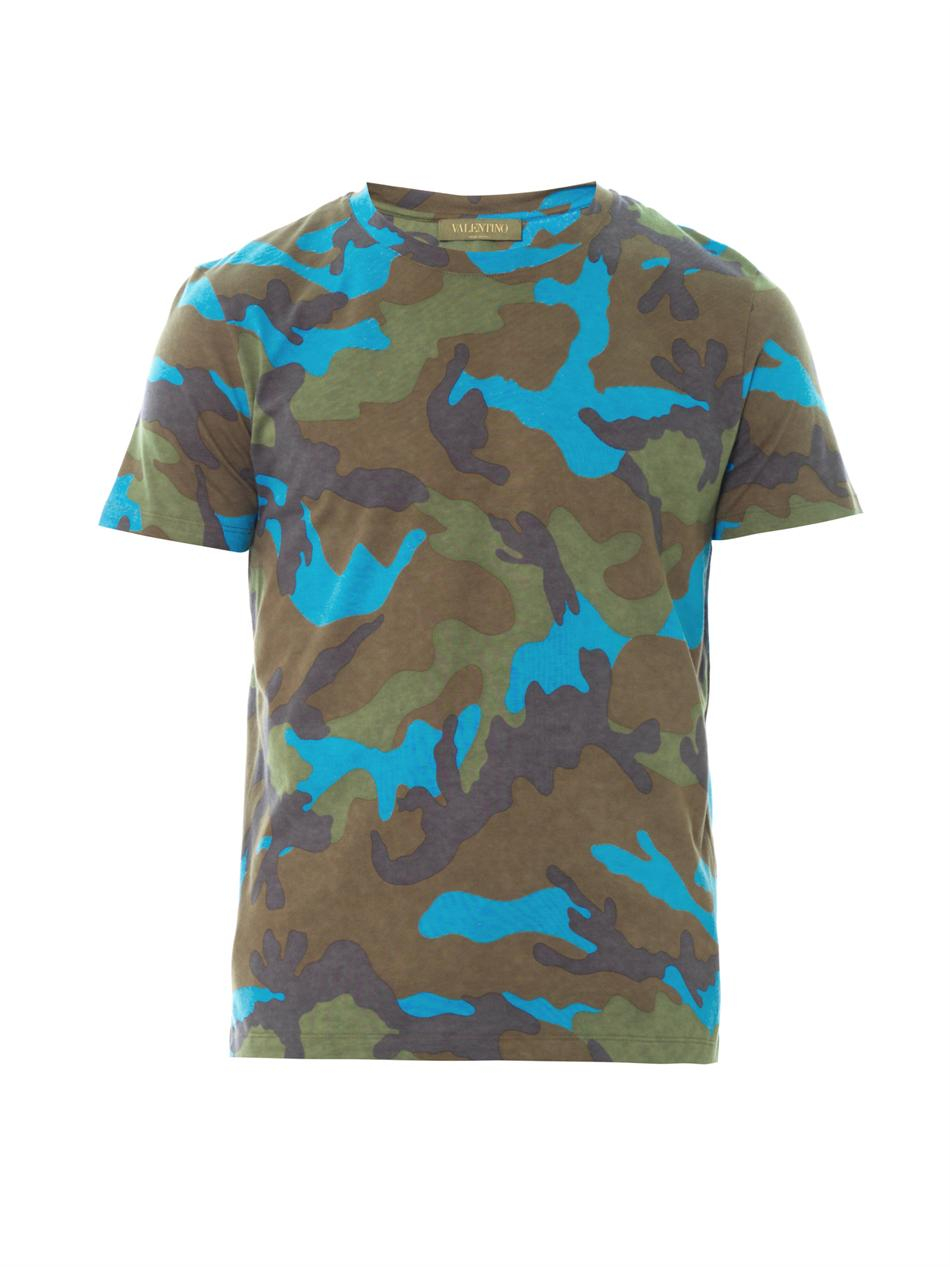 Valentino Camouflage Cotton Tshirt In Blue For Men Green