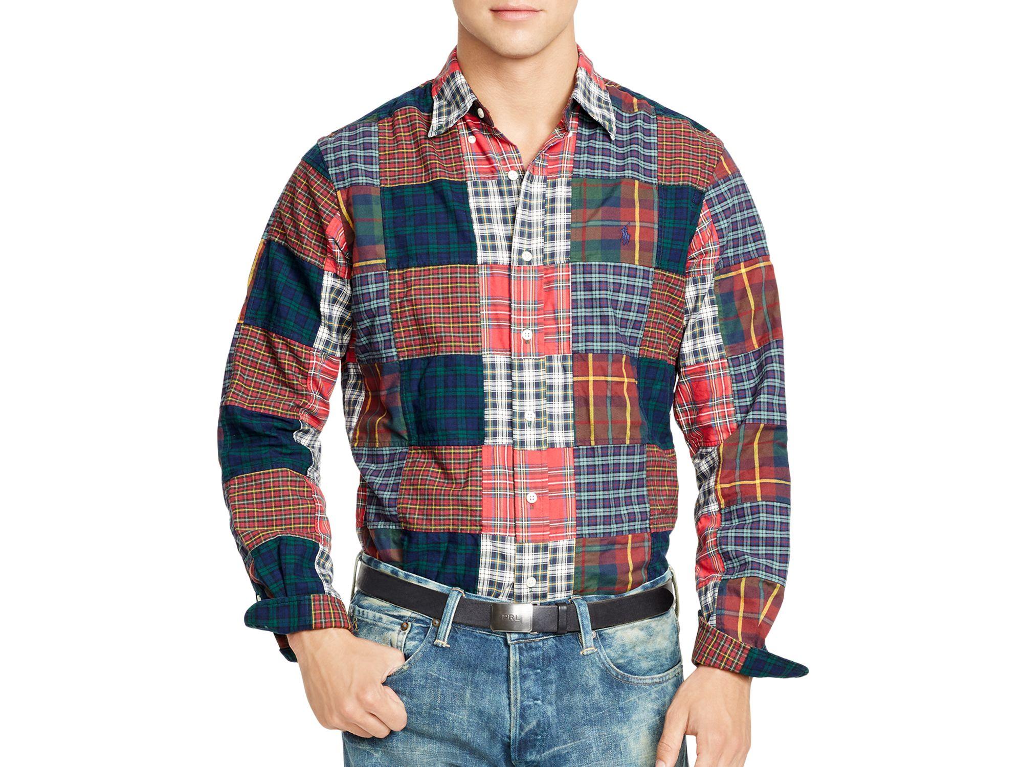 357604cb Ralph Lauren Polo Patchwork Oxford Shirt for Men - Lyst