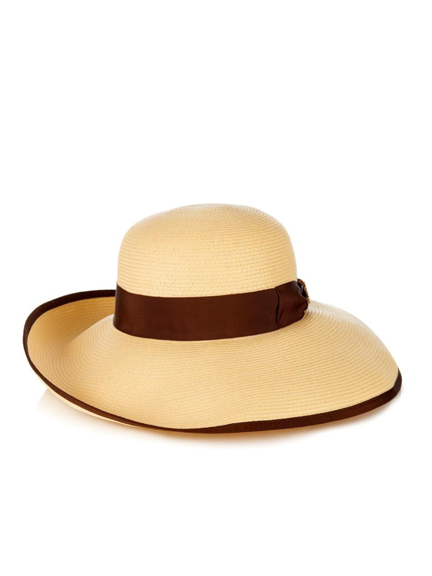 2f4e43efd844e Lyst - Gucci Natural Straw Wide-Brimmed Hat