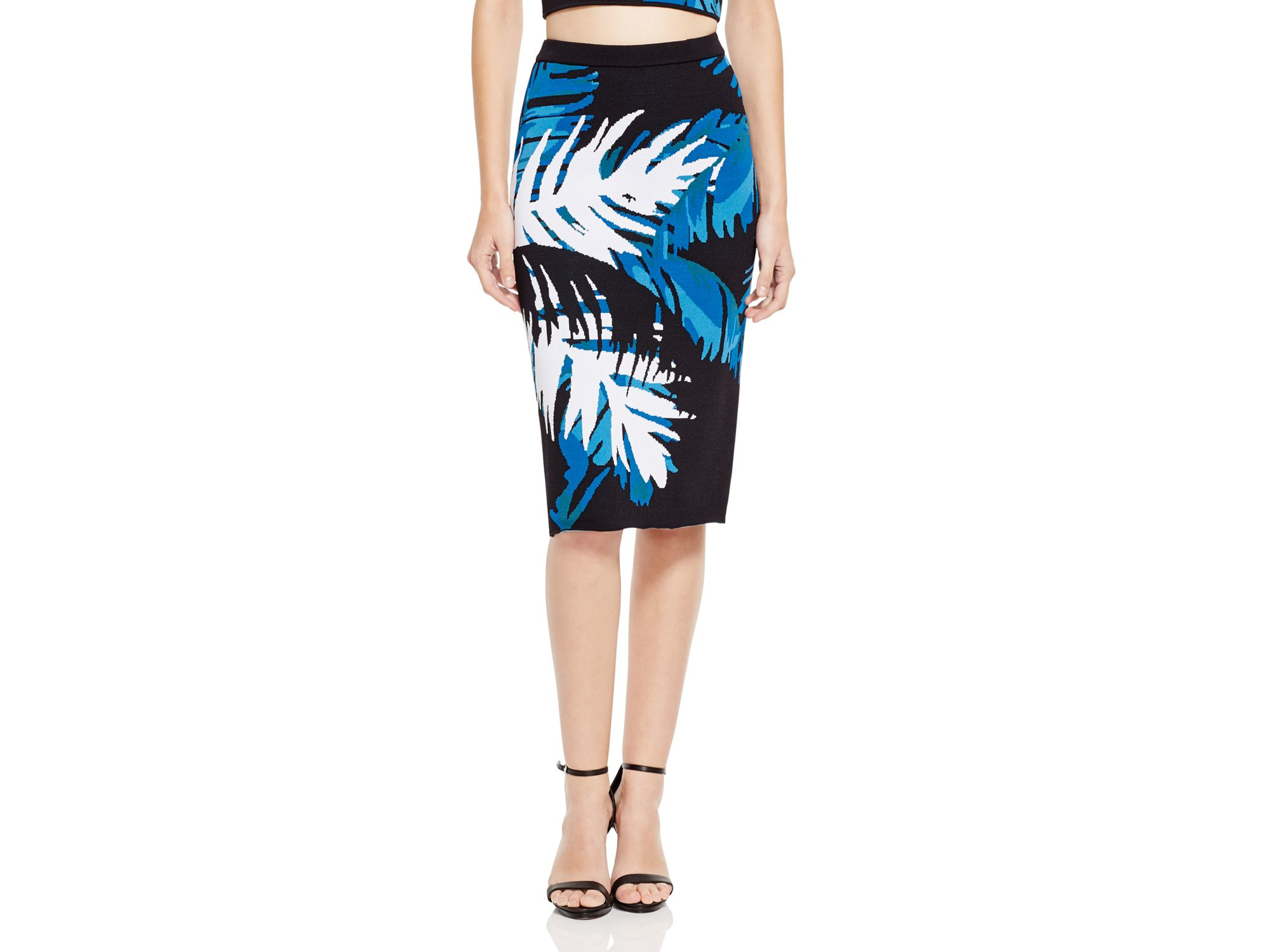 Timo weiland Leaf Patterned Pencil Skirt in Blue | Lyst