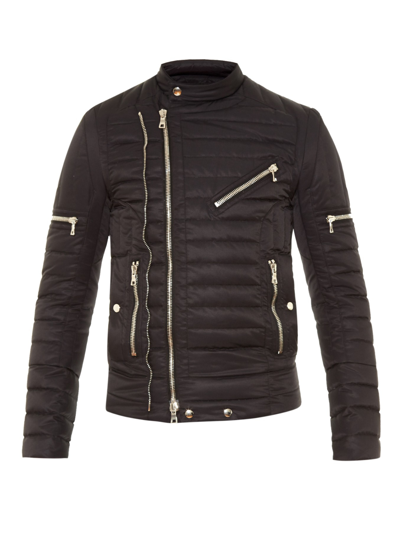 Balmain Quilted Down Biker Jacket In Black For Men Lyst