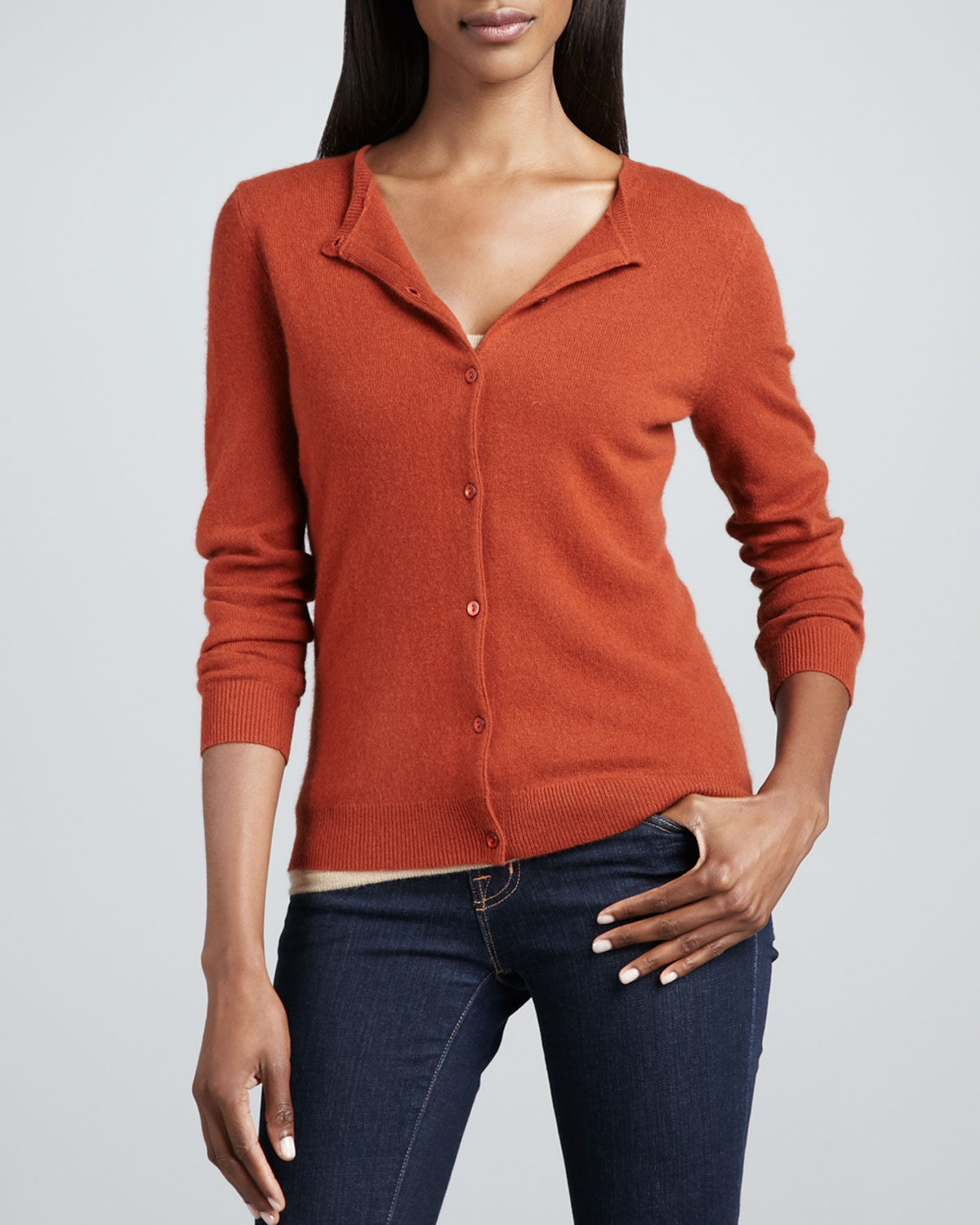 Neiman marcus Cashmere Cropped Cardigan in Orange | Lyst