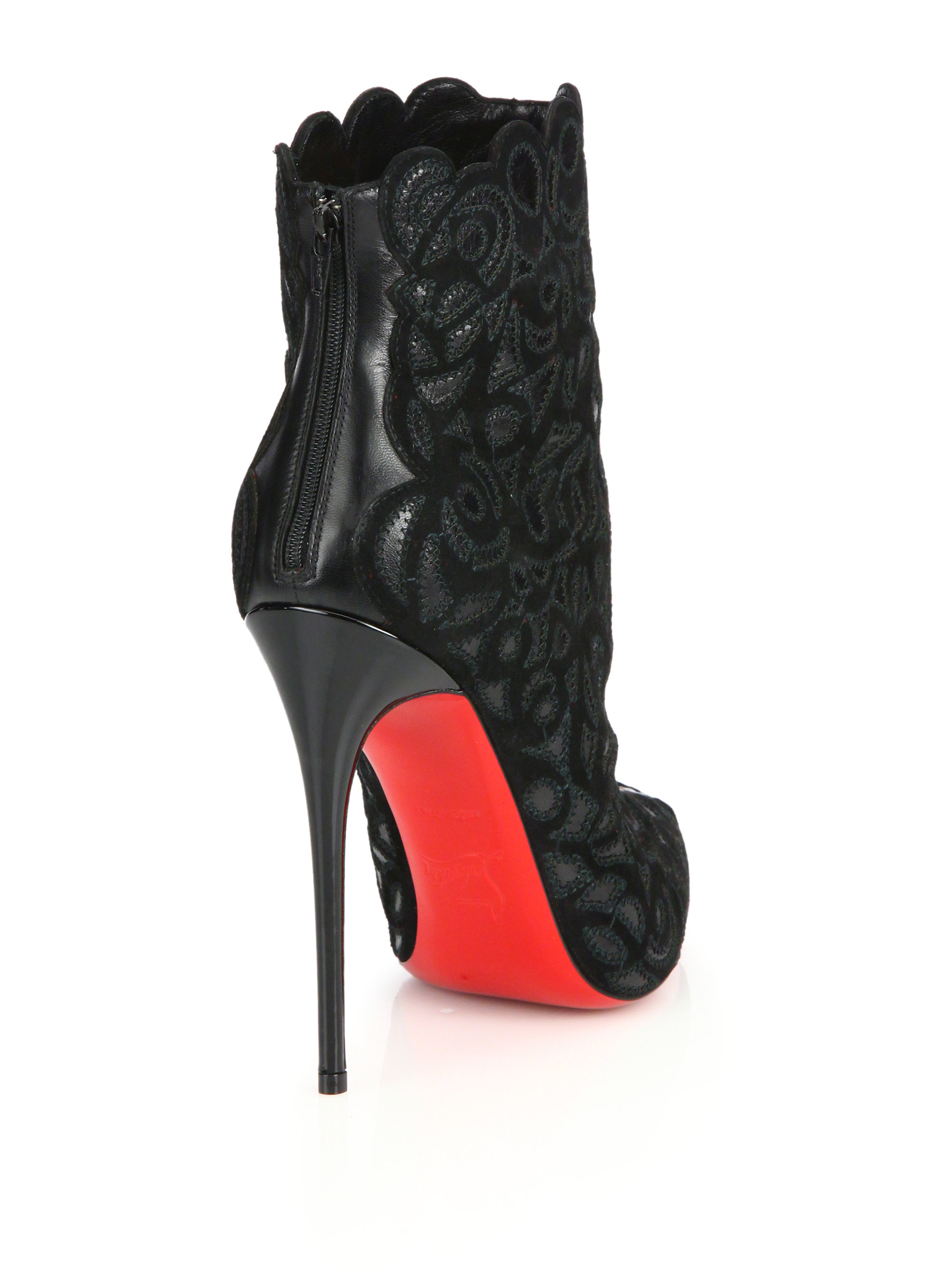 Christian Louboutin Indiboot Embroidered Suede Boots In