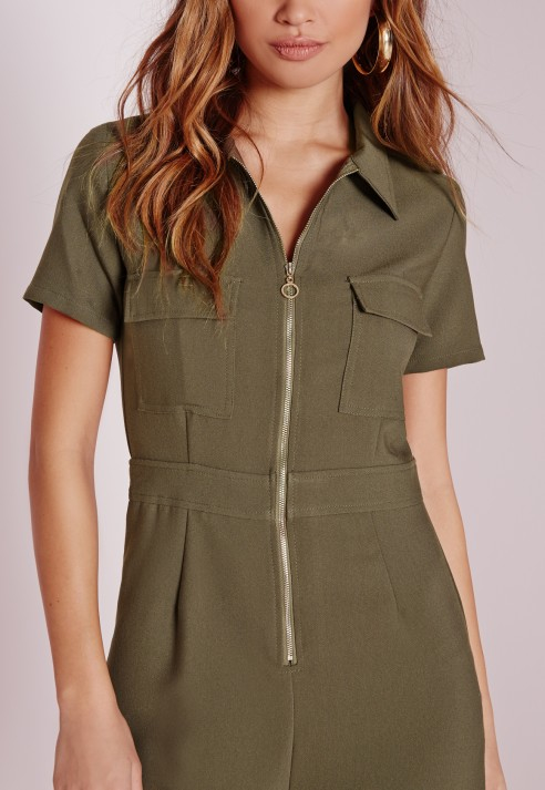 52a29eded7 Missguided Utility Zip Front Jumpsuit Khaki in Natural - Lyst