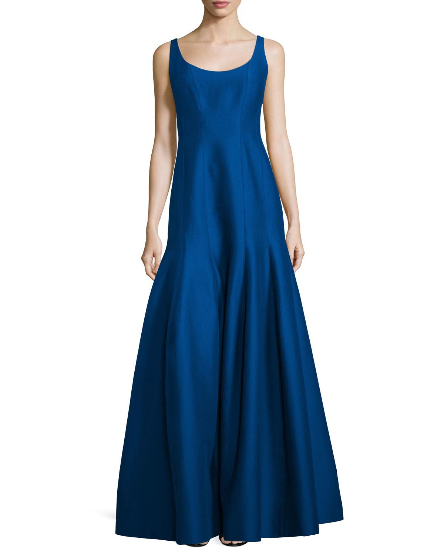 tulip skirt sleeveless gown in blue lyst