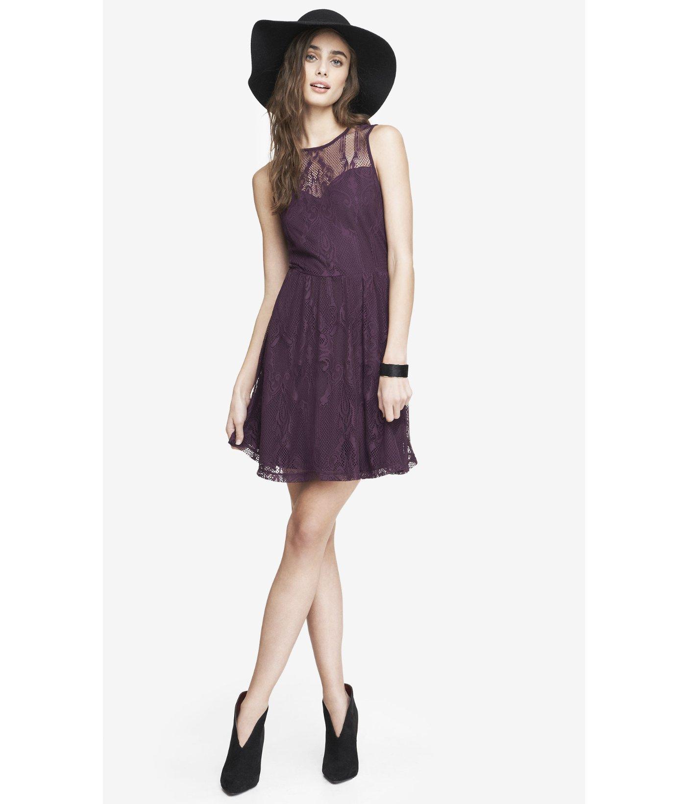 Express Lace Skater Dress - Dark Berry in Purple | Lyst