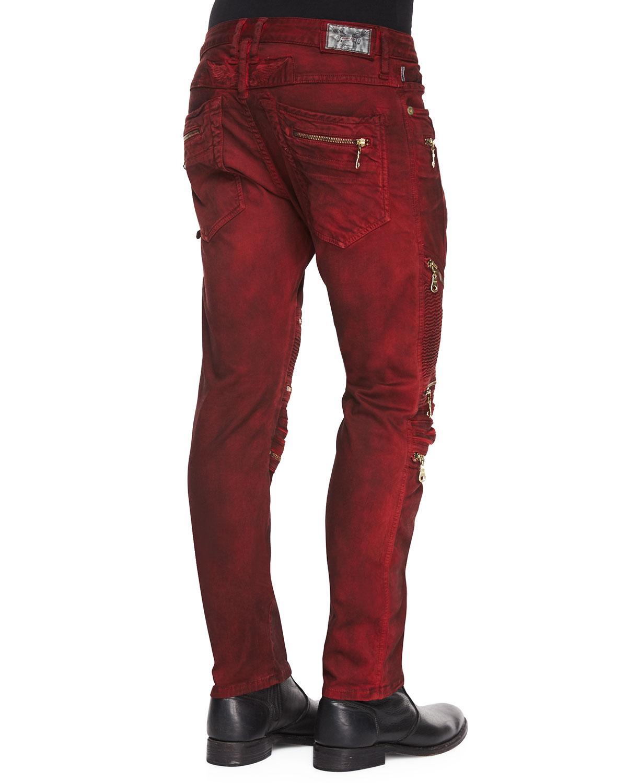 Lyst Robin S Jean Dusty Road Coated Moto Denim Jeans In