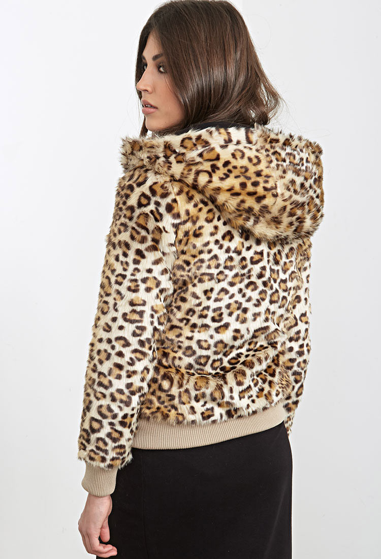 c93eb44115af Forever 21 Hooded Leopard Faux Fur Jacket You've Been Added To The Waitlist  in Brown - Lyst