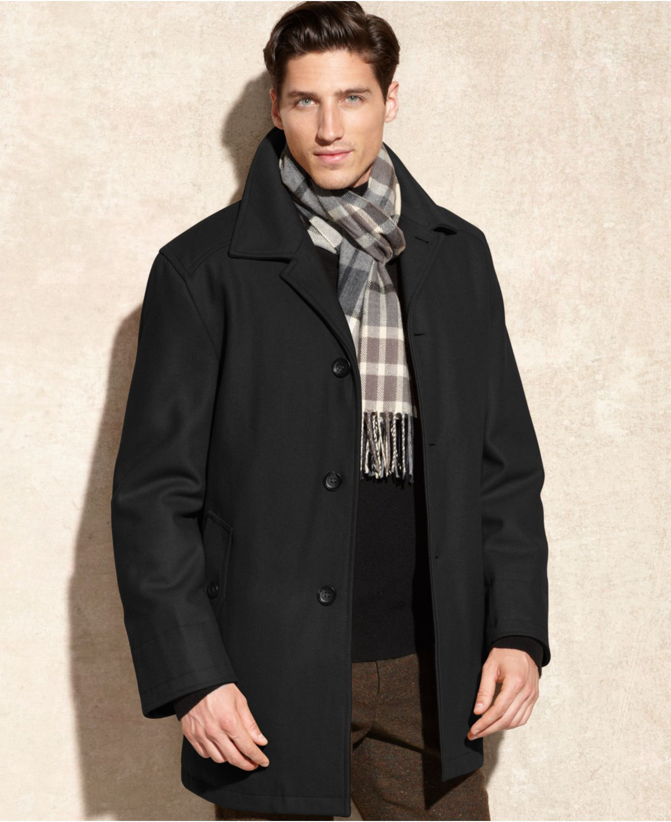 lyst london fog coat alden wool car coat with scarf in black for men. Black Bedroom Furniture Sets. Home Design Ideas