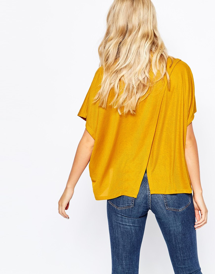 3a3f1f04c70281 Monki Kimono Sleeved High Neck Top in Yellow - Lyst