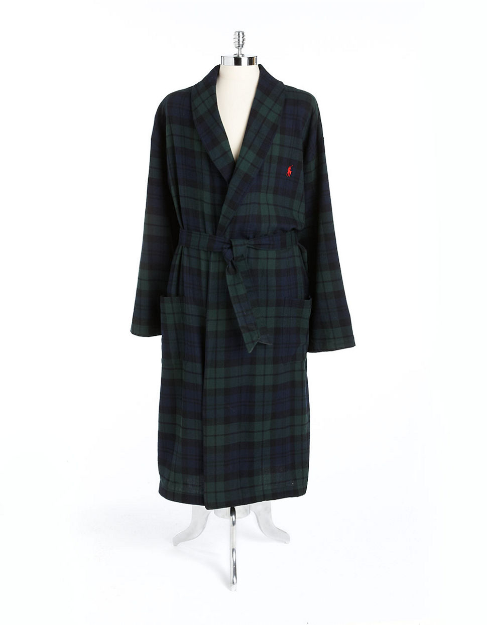 polo ralph lauren belted plaid cotton robe in green for men green blue lyst. Black Bedroom Furniture Sets. Home Design Ideas