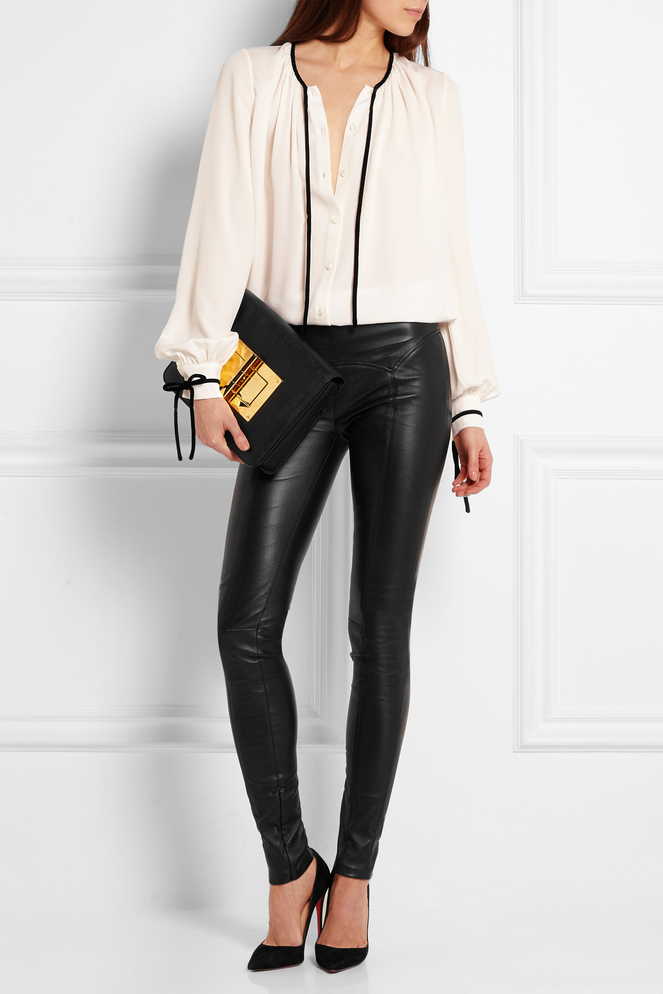 lyst tom ford stretch leather leggings in black. Black Bedroom Furniture Sets. Home Design Ideas