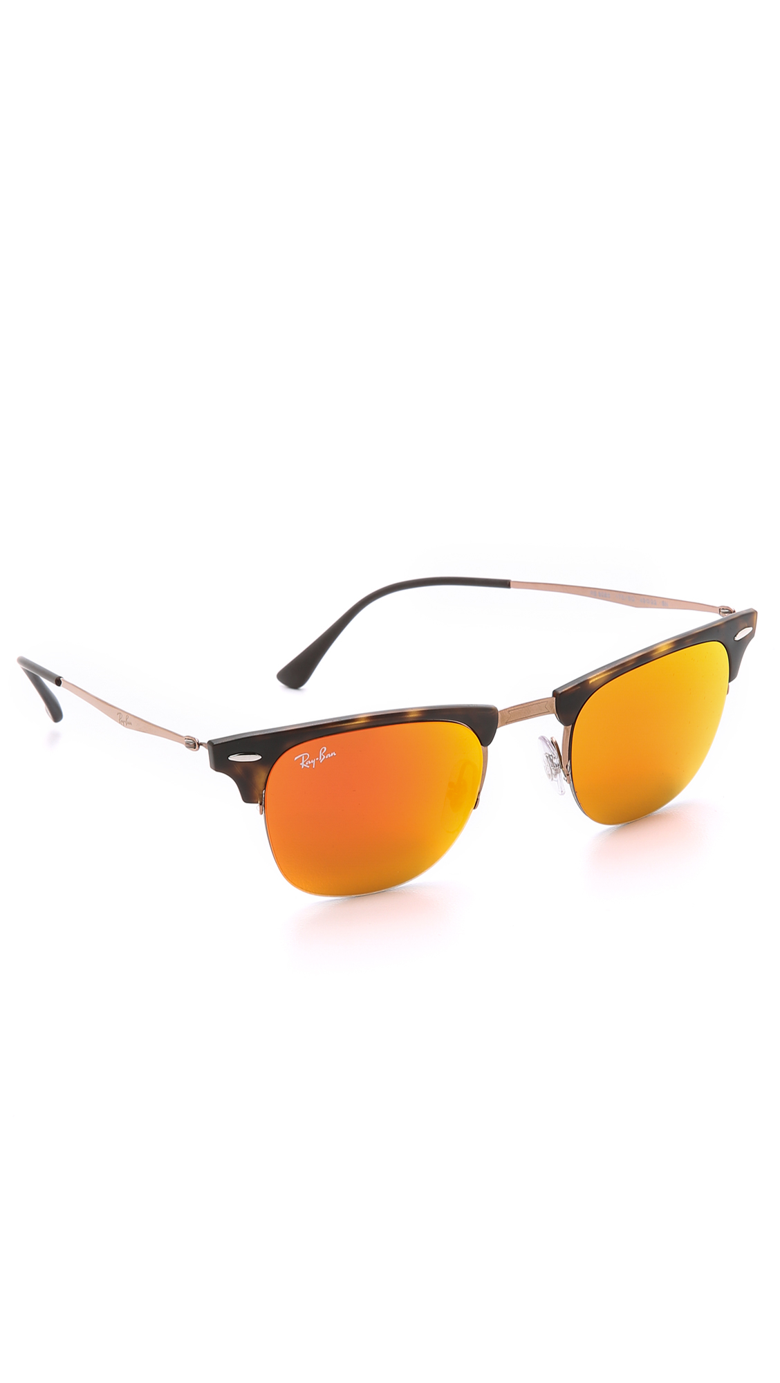 9d1eef31e5653 ... coupon code for lyst ray ban lightweight clubmaster sunglasses with  flash lens in brown for men