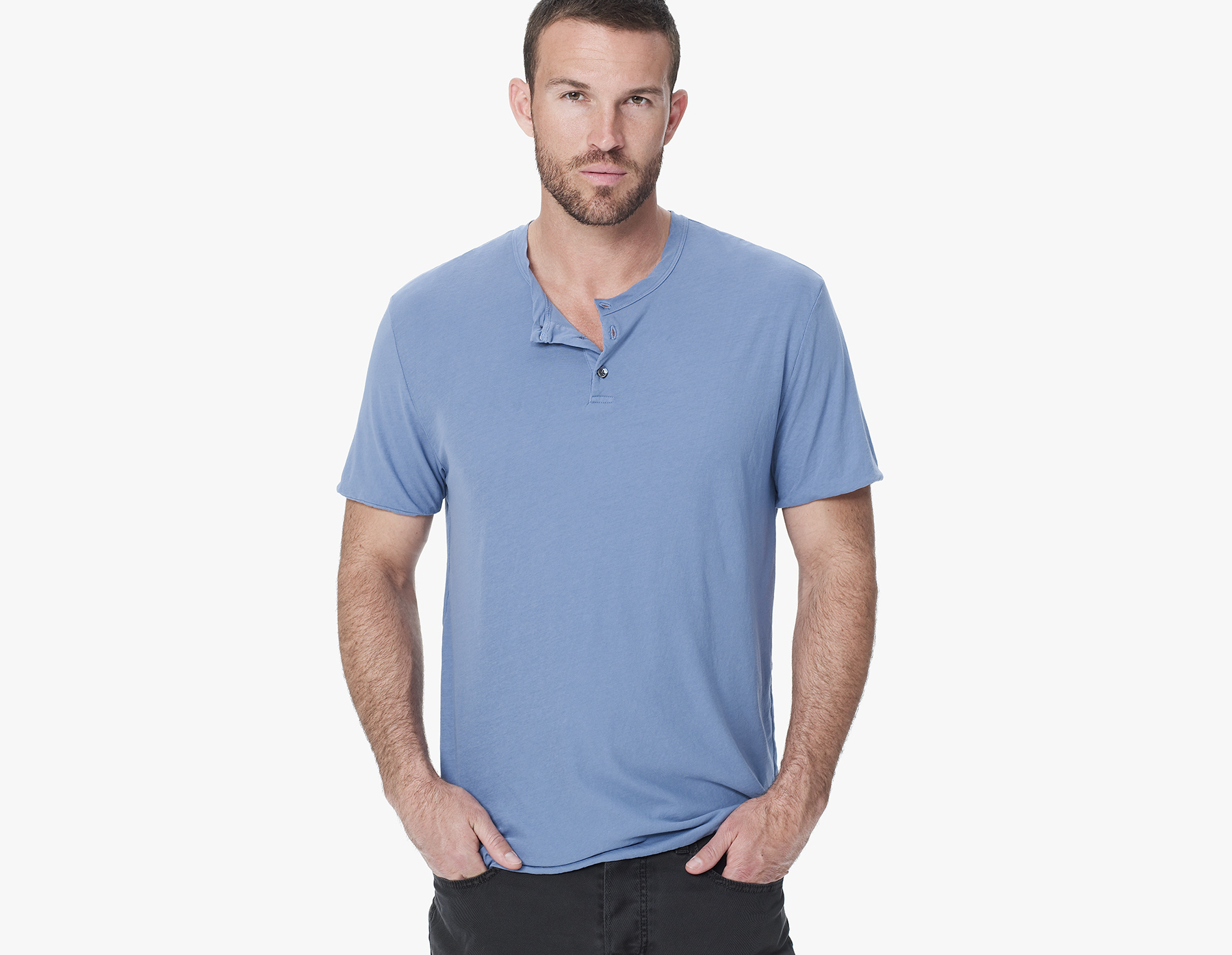 James perse high gauge jersey doubled henley in blue for for James perse henley shirt