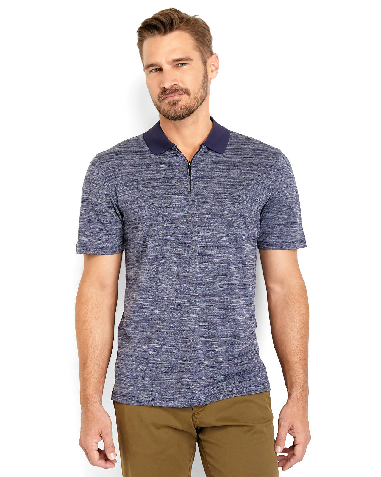 Perry Ellis Marled Knit Quarter-Zip Polo In Blue For Men