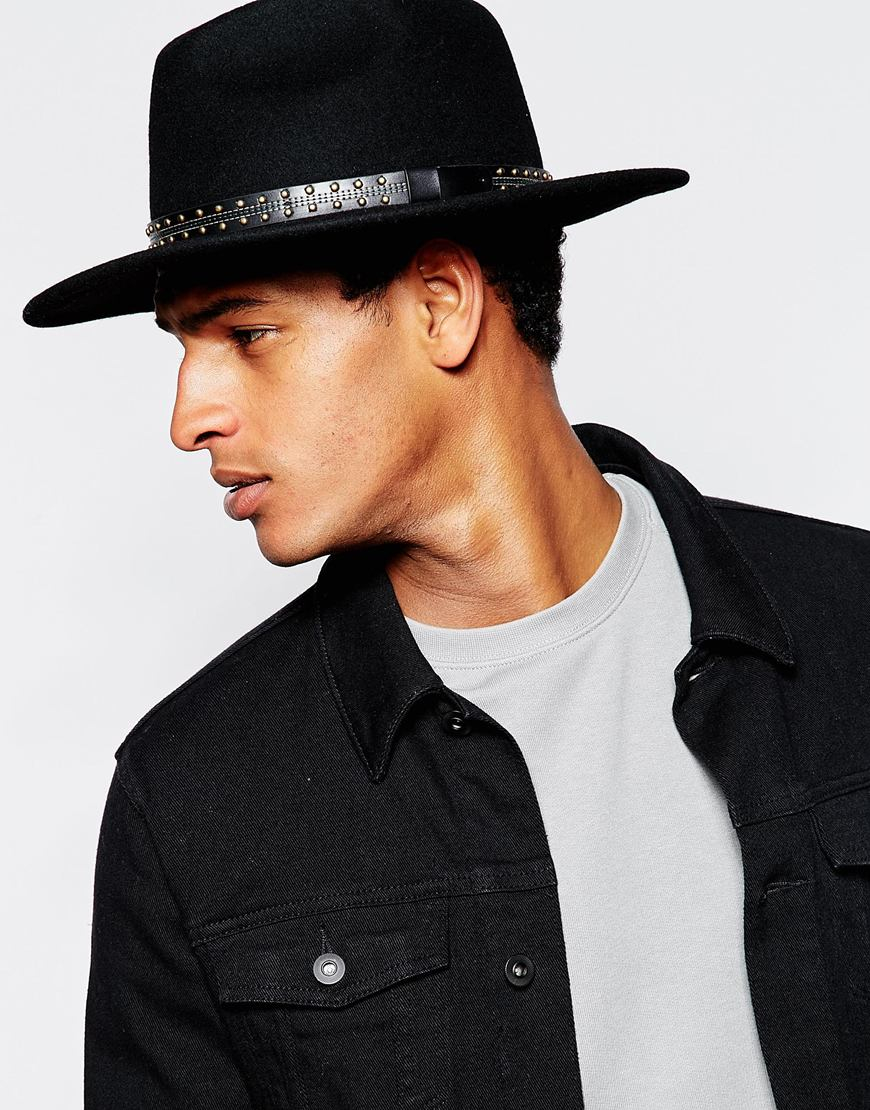 1510ffbe45dfa2 ASOS Fedora Hat In Black Felt With Wide Brim And Studded Band in Black for  Men - Lyst