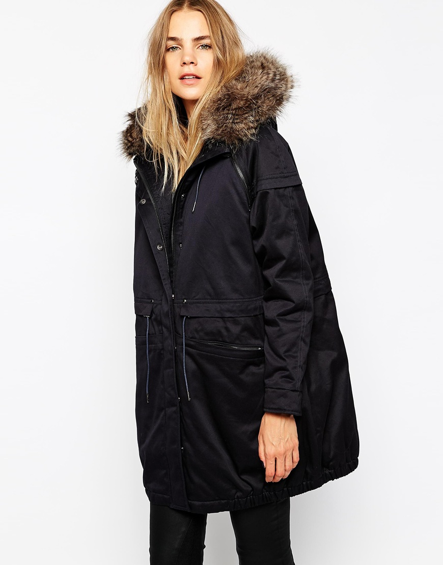 Parka london Nova Parka With Detachable Faux Fur Trim in Blue | Lyst