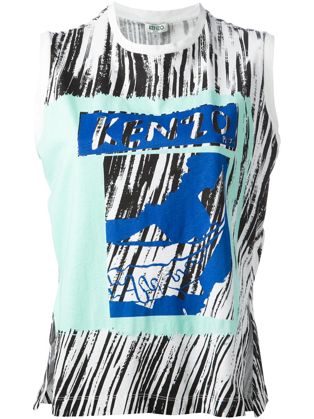 Kenzo Fish Print T Shirt In Blue Multicolour Lyst
