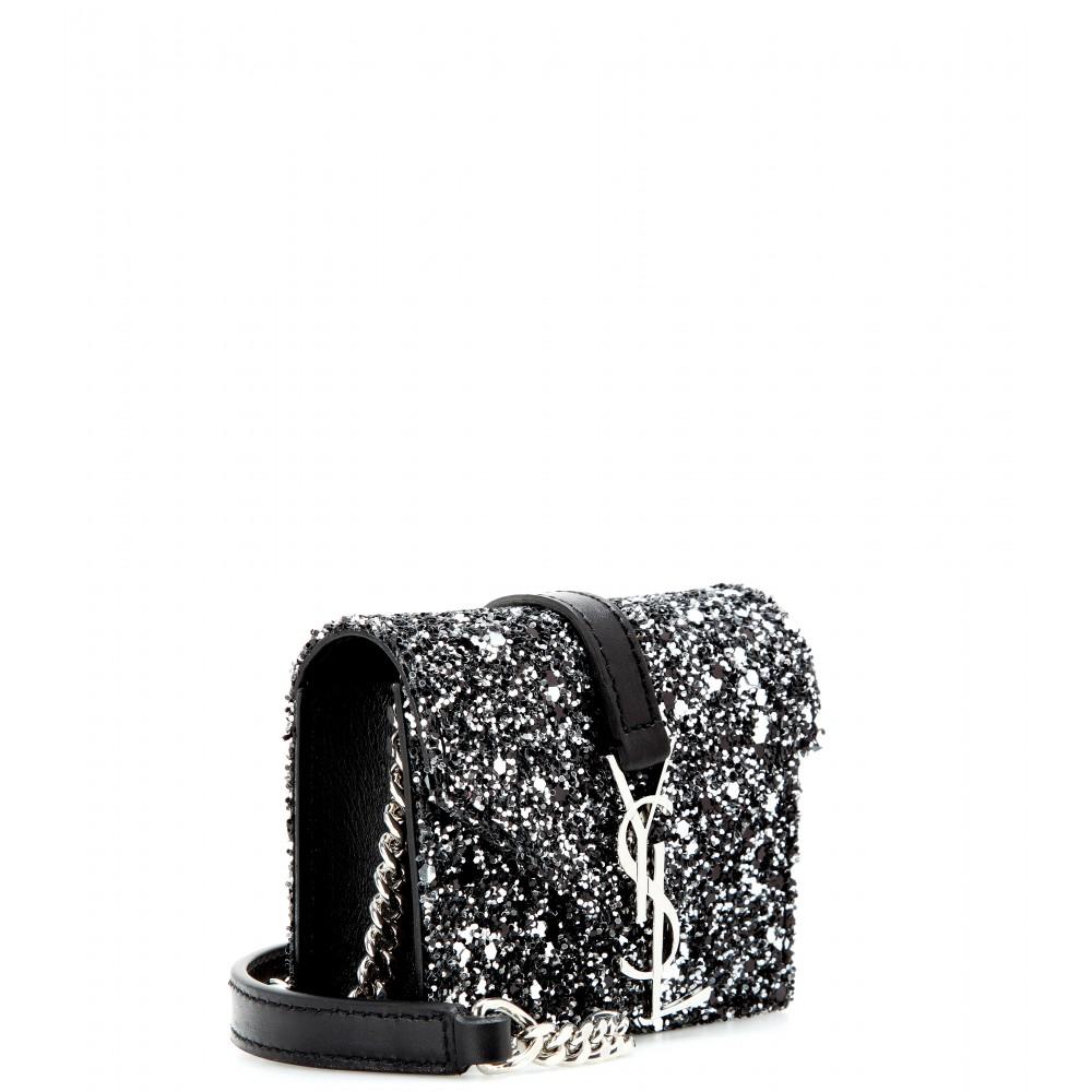 Saint laurent Candy Monogram Glittered Leather Shoulder Bag in ...