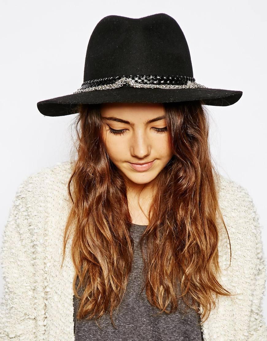6a26375c288ef Asos Felt Panama Hat With Plait Braid Trim Size Adjuster Pure. Gallery.  Lyst Asos Felt Fedora Hat With Braid Chain Trim In Black