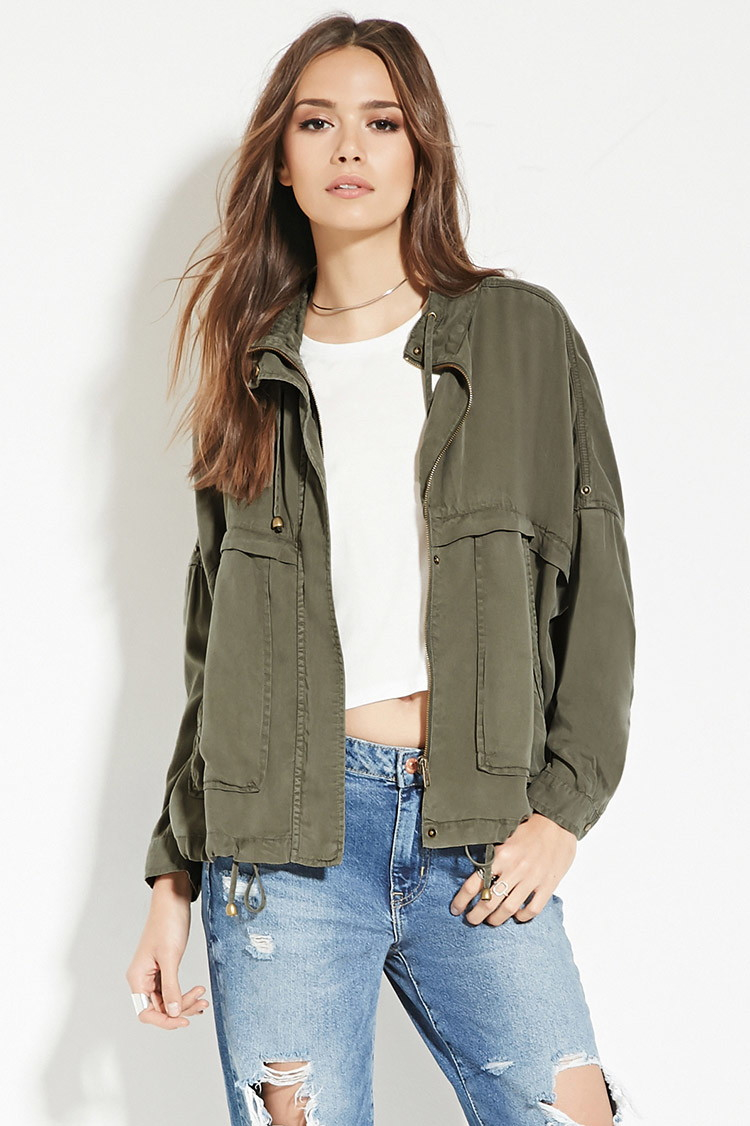 forever 21 utility batwing jacket in green lyst