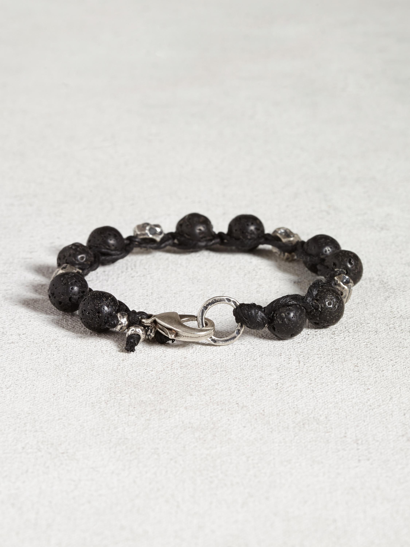 John Varvatos Black Lava Bead Bracelet In Black For Men Lyst