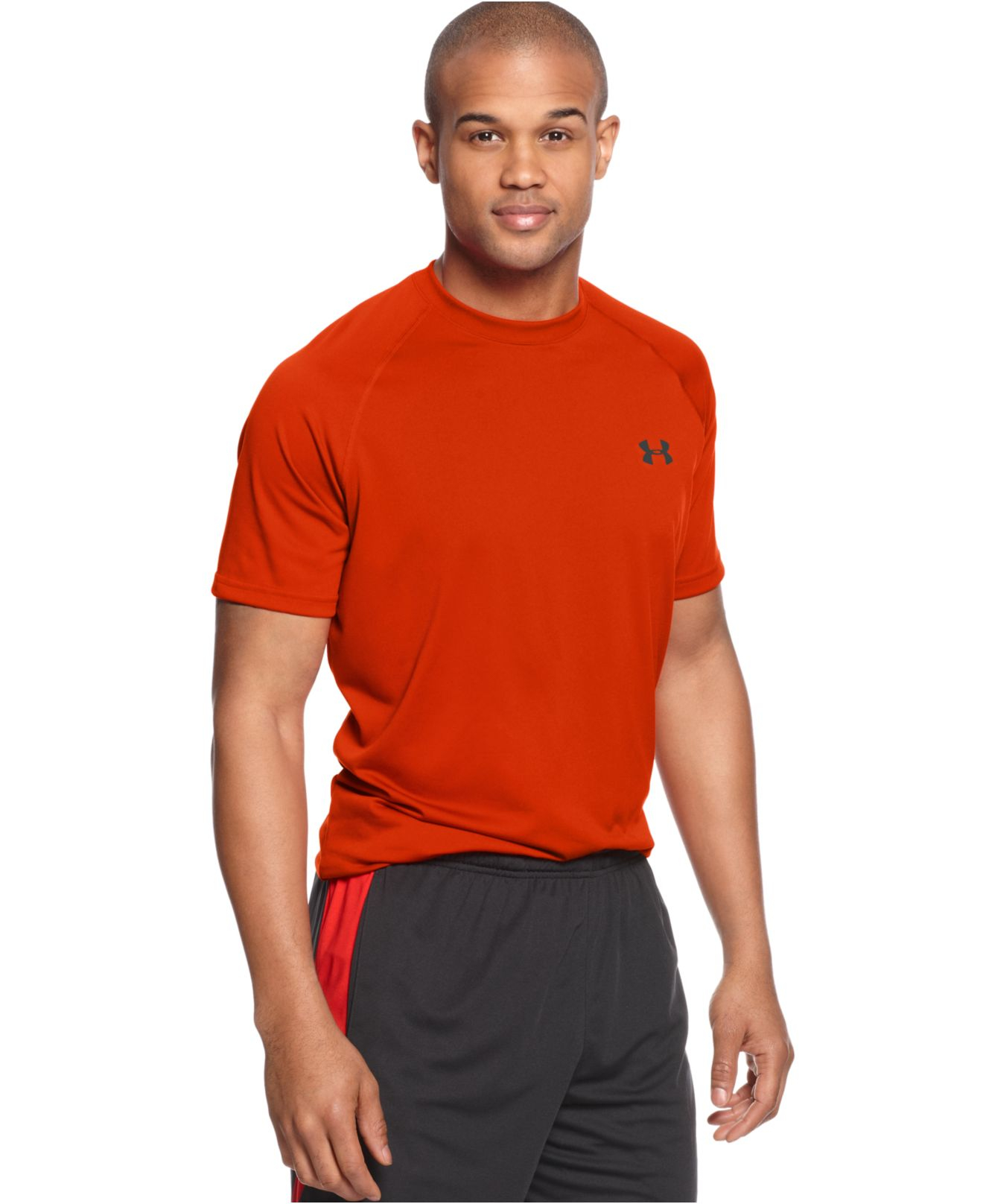 Lyst under armour tech short sleeve t shirt in orange for Under armour men s tech short sleeve t shirt