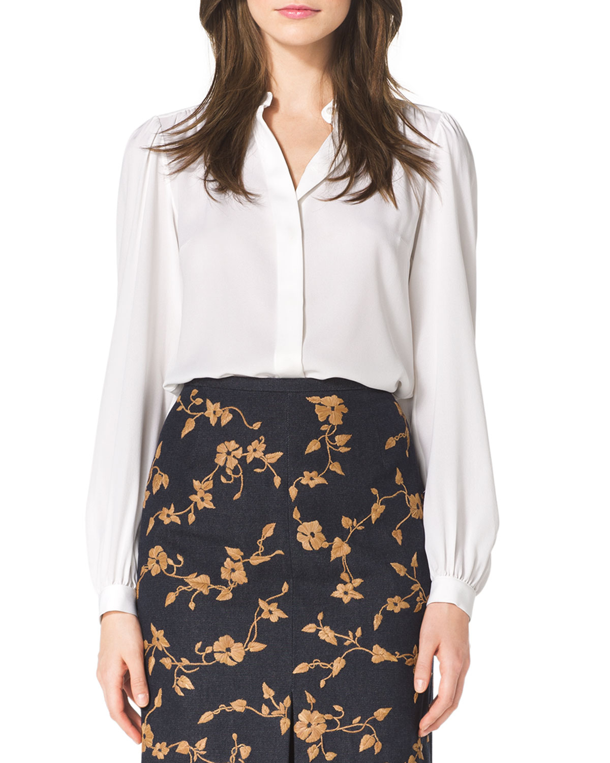 c036082a8f850 Lyst - Michael Kors Long-sleeve Silk Blouse in White