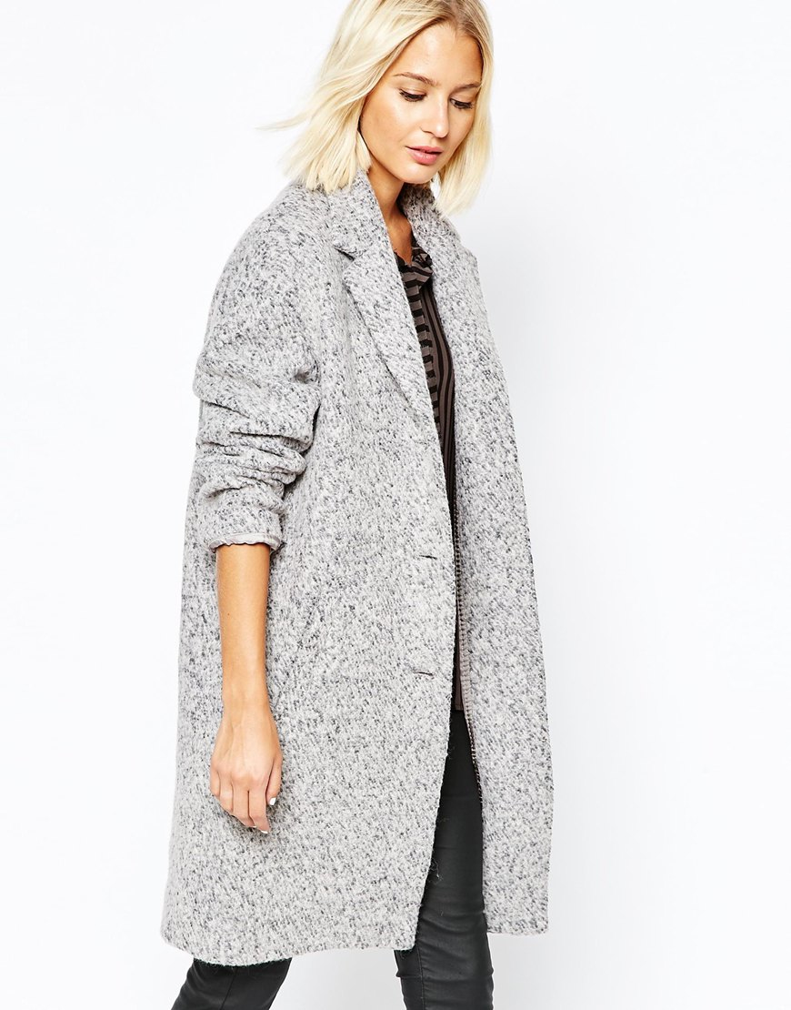 Selected Lifa Ovoid Coat In Flecked Wool in Gray   Lyst