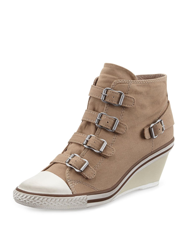ash genialbis buckled wedge sneaker in brown lyst