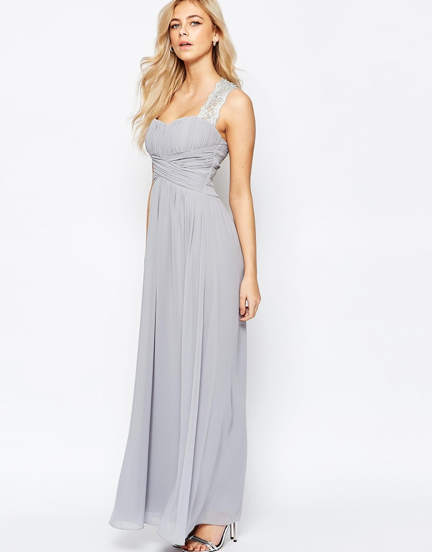 lyst little mistress ruched bodice maxi dress with lace sleeves in gray. Black Bedroom Furniture Sets. Home Design Ideas