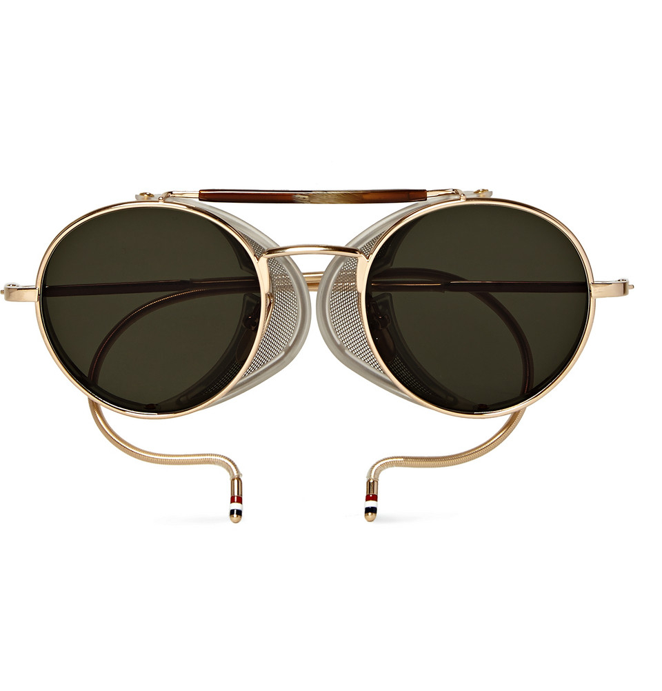 Lyst Thom Browne Round Frame Gold Tone Sunglasses In