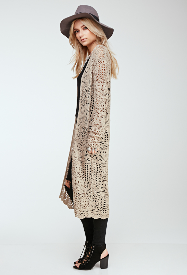 Forever 21 Longline Crochet Cardigan in Natural | Lyst
