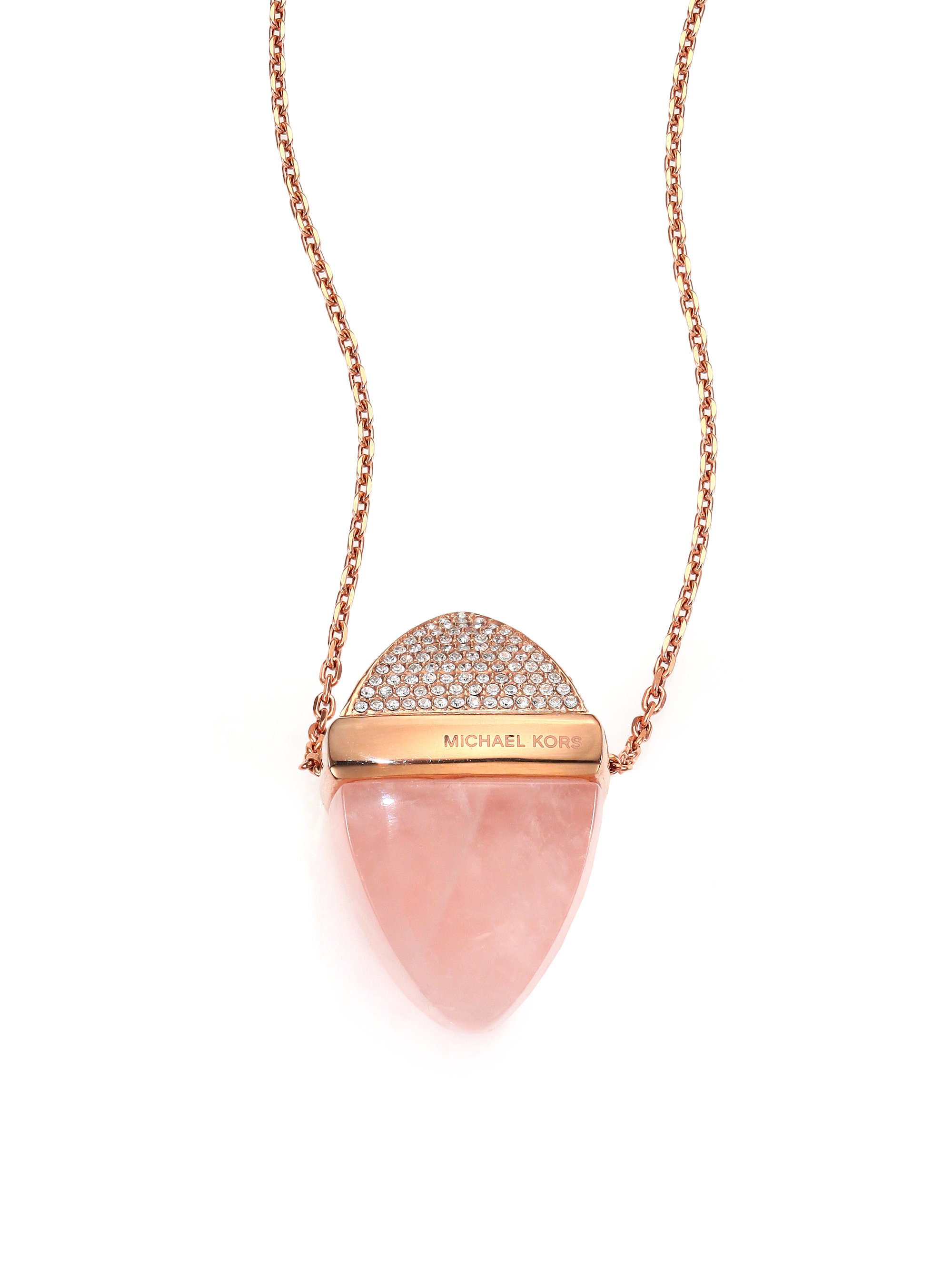 Michael kors rose quartz pave pendant necklace in pink lyst for Michael b jewelry death