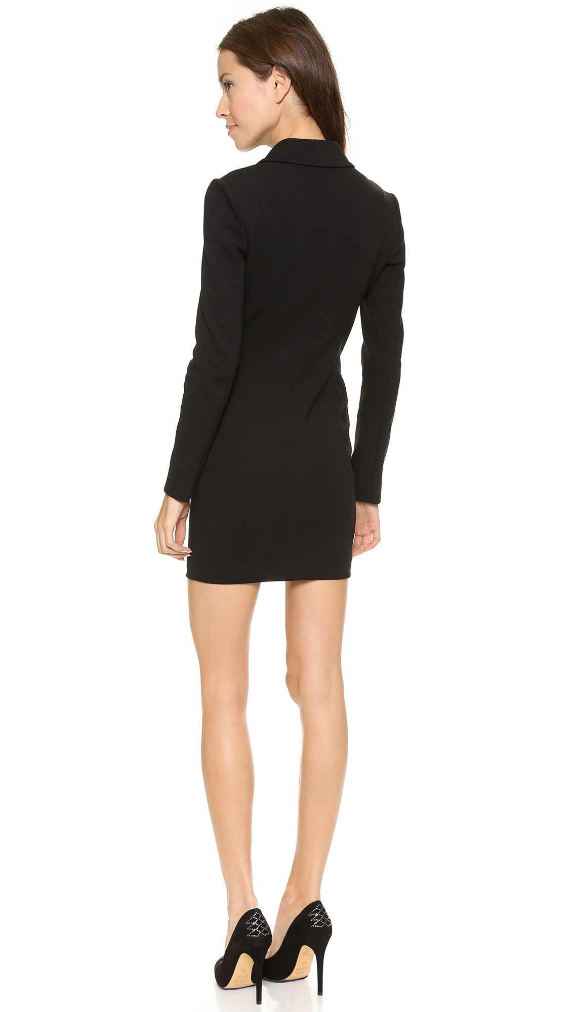 fe70797198 Balmain Zip Up Blazer Dress Black in Black - Lyst