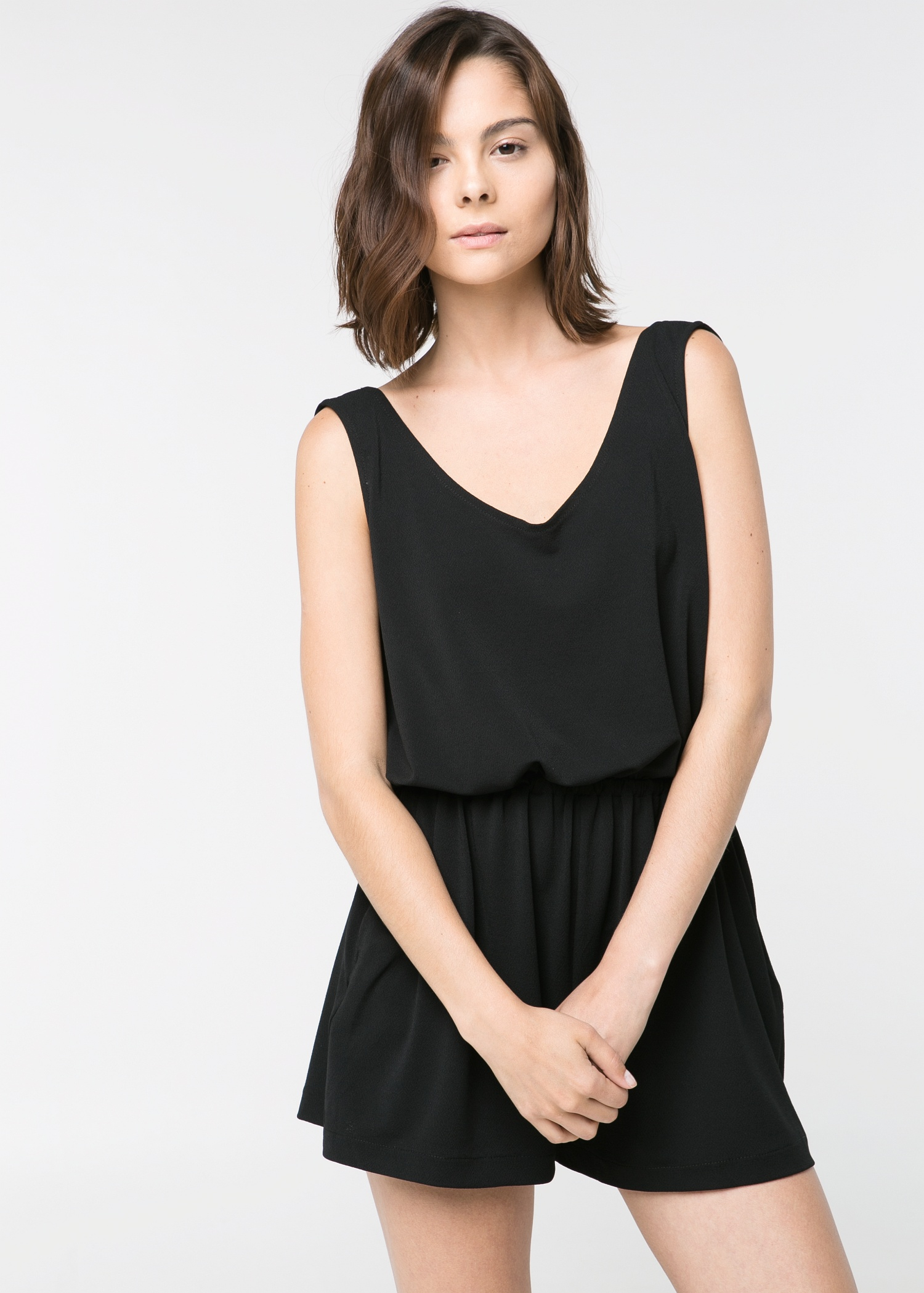 Mango Wrap-Back Short Jumpsuit in Black | Lyst