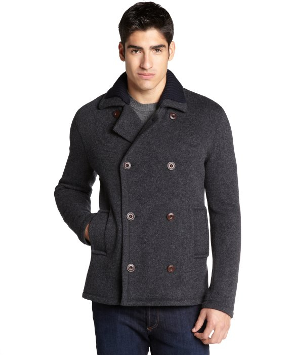 Gucci Grey Wool Knit Collar Peacoat in Gray for Men | Lyst