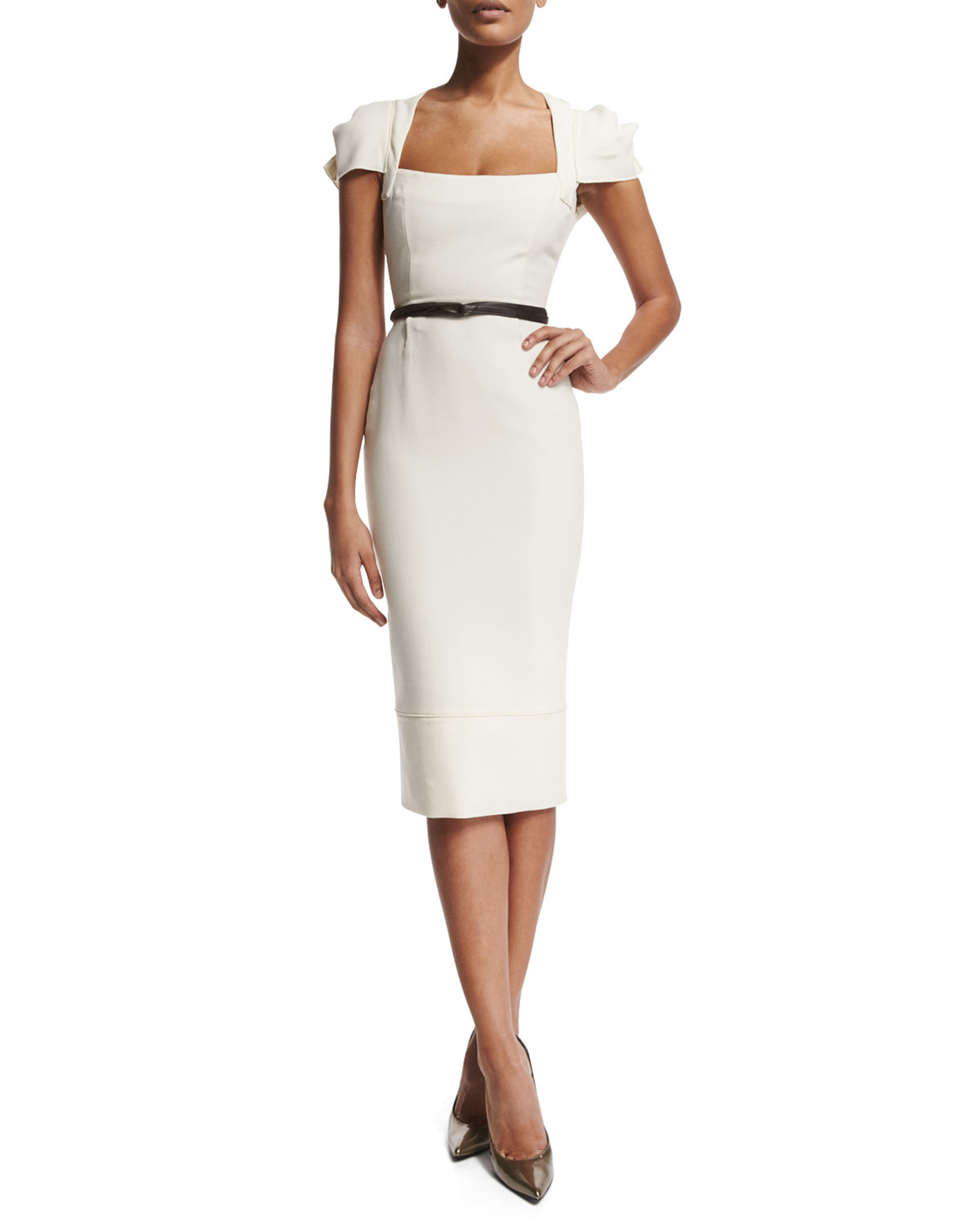 Lyst Roland Mouret Galaxy Square Neck Sheath Dress In White