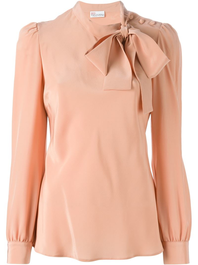 Lyst Red Valentino Pussy Bow Blouse In Natural