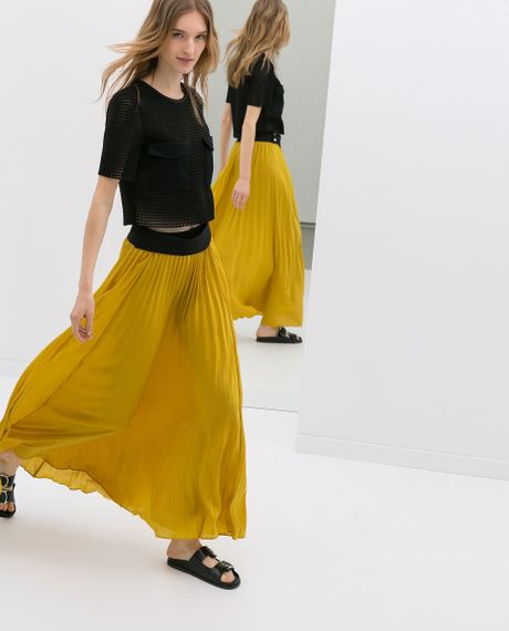 Zara long fine pleat skirt in yellow mustard lyst