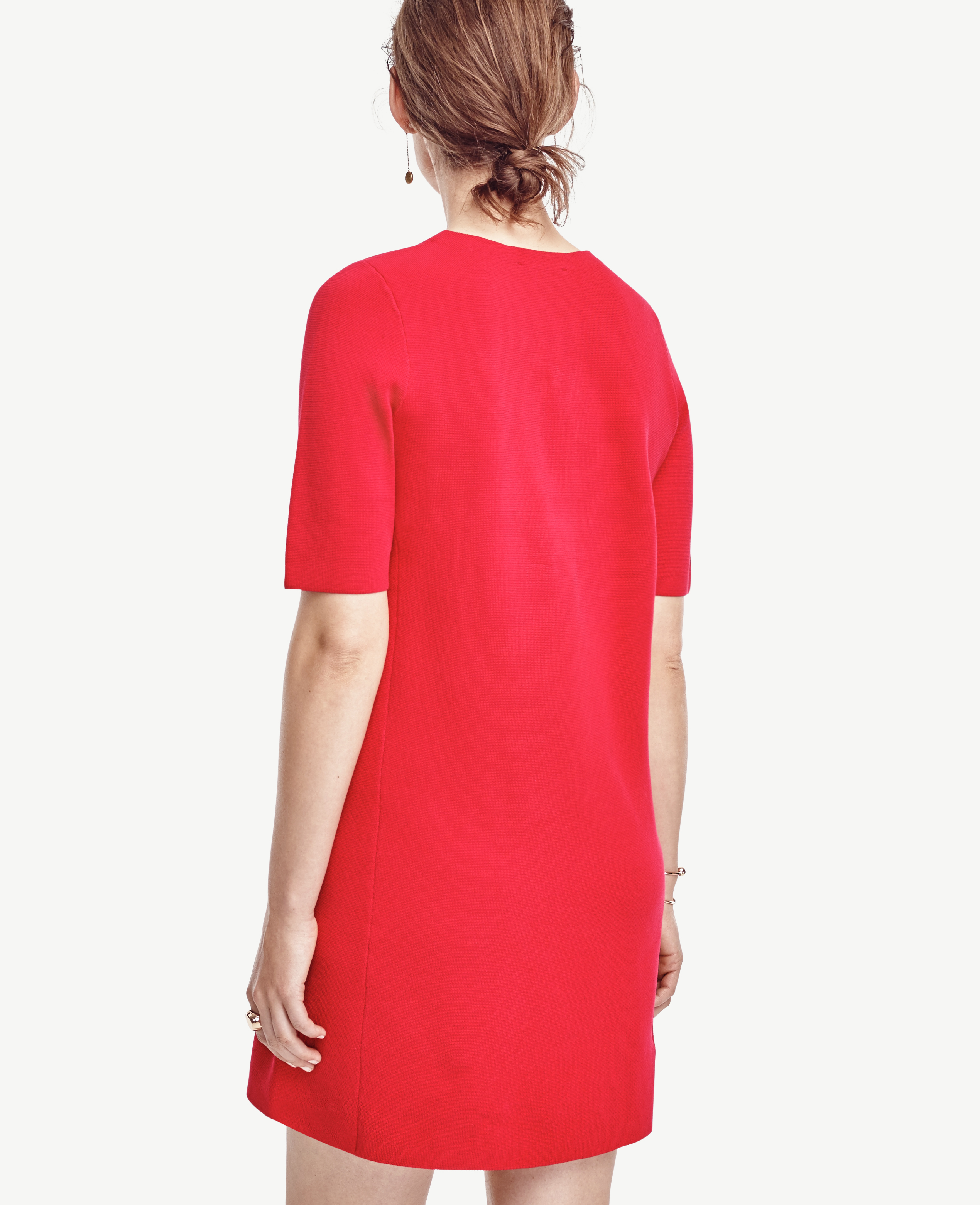 Ann taylor Short Sleeve Sweater Dress in Red | Lyst