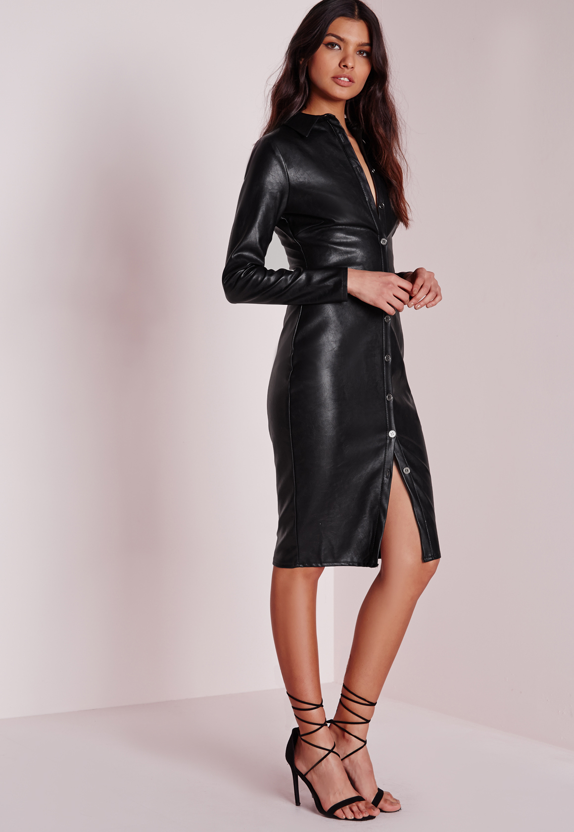 Missguided Faux Leather Fitted Midi Shirt Dress Black in ...