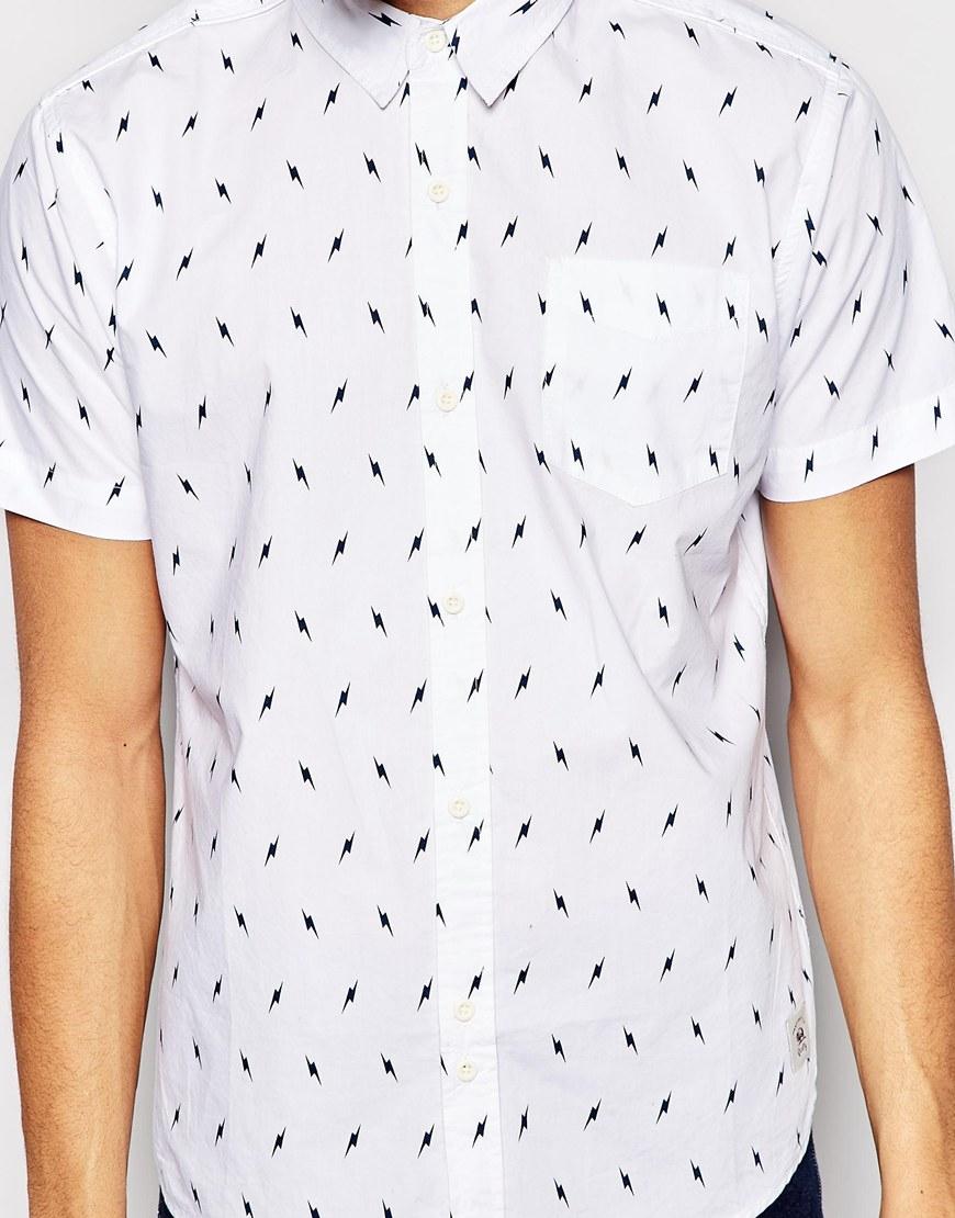 lyst bellfield short sleeve shirt with lightning bolt print in